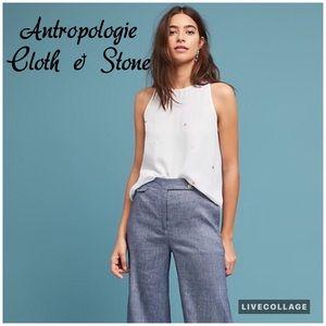 Antropologie Cloth & Stone White Gillian Top